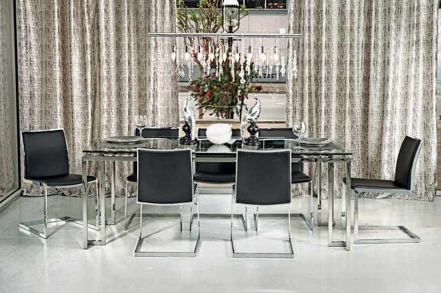 Most Current Chrome Dining Room Sets Regarding Tessa Dining Table – Mono Chrome – Modern – Dining Room – Houston (View 11 of 20)