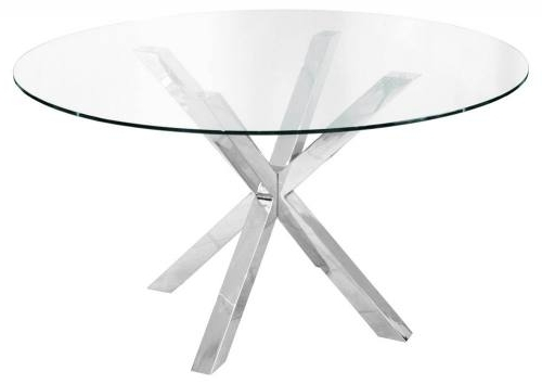 Most Current Chrome Glass Dining Tables Within Febland – Crossly Circular Glass Dining Table – Sculptured Chrome (View 11 of 20)