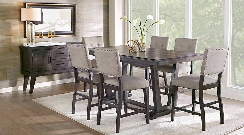 Most Current Crawford 7 Piece Rectangle Dining Sets Intended For Cindy Crawford Home Highland Park Ebony 5 Pc Counter Height Dining (View 16 of 20)