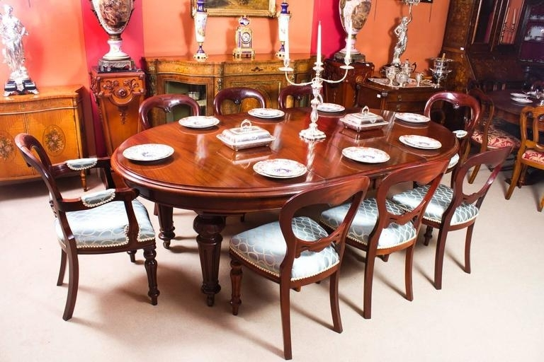 Most Current Dining Tables For Eight Pertaining To Antique Victorian Oval Dining Table And Eight Chairs, Circa 1860 At (View 14 of 20)