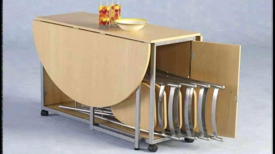Most Current Dining Tables With Fold Away Chairs With Regard To Folding Dining Table For Small Kitchen – Latejica (View 4 of 20)
