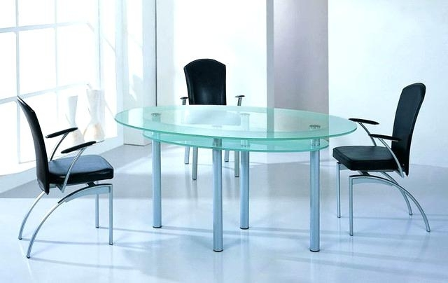 Most Current Glass Dining Table With Wood Base Room Tables Bases Oval Top Wit For Blue Glass Dining Tables (View 14 of 20)