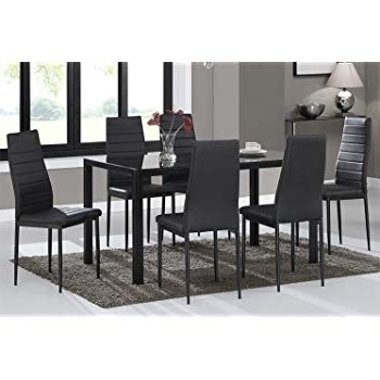 Most Current Glass Dining Tables And Chairs With Regard To Warmiehomy Dining Table Chairs, Glass Dining Table Set And 6 Faux (View 17 of 20)
