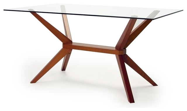 Most Current Glass Dining Tables With Wooden Legs In Magna Glass Dining Table – Midcentury – Dining Tables  Inmod (View 11 of 20)