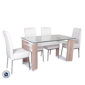 Most Current Glass Top Wood Frame Double Layer Dining Table – Buy Double Layer Inside Wood Glass Dining Tables (View 11 of 20)