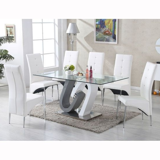 Most Current Grey Glass Dining Tables Intended For Barcelona Dining Table In Clear Glass Top With Stainless Steel Base (View 10 of 20)