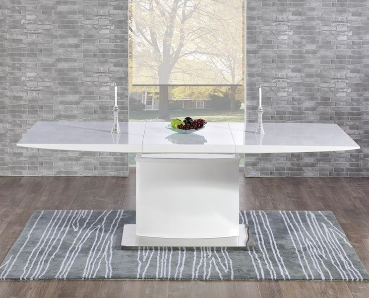 Most Current High Gloss Dining Room Furniture Inside Buy Mark Harris Hayden White High Gloss Dining Table – 160Cm (View 12 of 20)