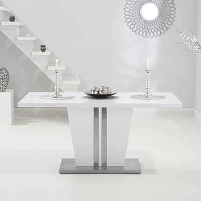 Most Current High Gloss White Dining Tables And Chairs With Vegas High Gloss White Dining Table With 6 Milan Black Chairs (View 9 of 20)