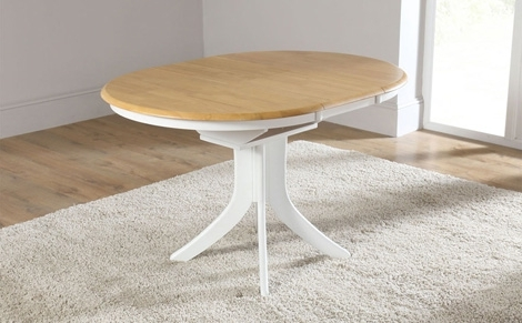 Most Current Hudson White Two Tone Round Extending Dining Room Table 90 120 Small Intended For White Round Extending Dining Tables (View 6 of 20)