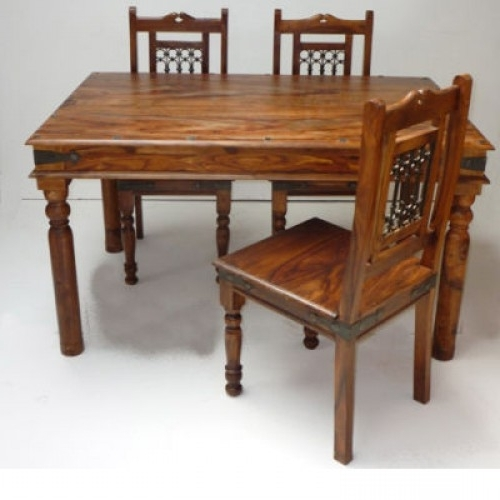 Most Current Indian Style Dining Tables Throughout Indian Jali 135Cm Dining Table & 4 Chairs (View 18 of 20)