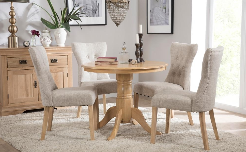 Most Current Kingston Round Oak Dining Table With 4 Bewley Oatmeal Chairs Only Within Kingston Dining Tables And Chairs (View 5 of 20)