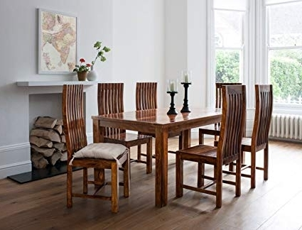 Most Current Lifeestyle Handcrafted Sheesham Wood 6 Seater Dining Set (Honey With Cheap 6 Seater Dining Tables And Chairs (View 8 of 20)