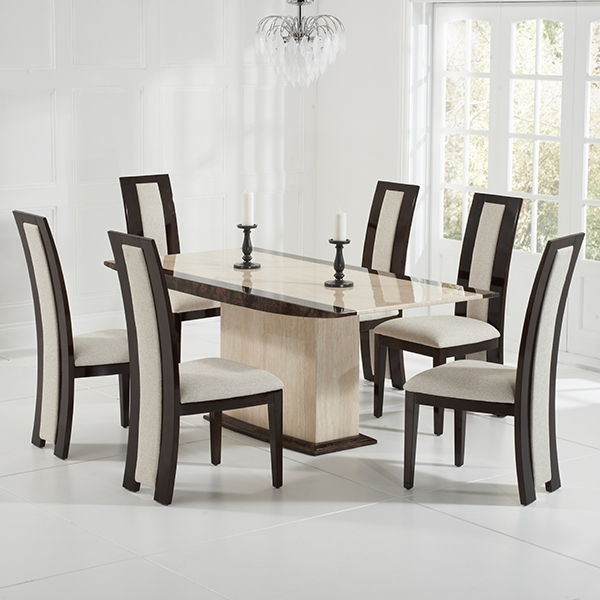 Most Current Marble Dining Chairs Pertaining To Alberto Cream Marble 6 Seater Dining Set – Robson Furniture (View 14 of 20)