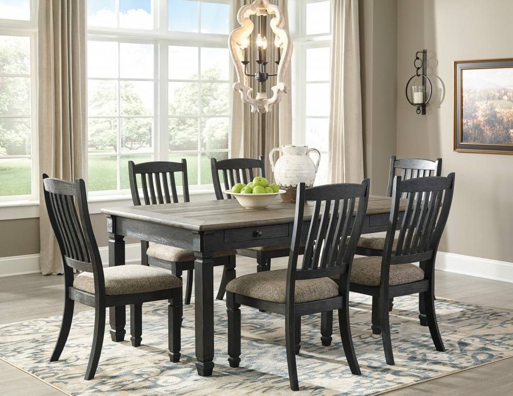 Most Current Market 6 Piece Dining Sets With Side Chairs Pertaining To Tyler Creek – Rectangular Dining Room Table & 6 Uph Side Chairs (View 12 of 20)