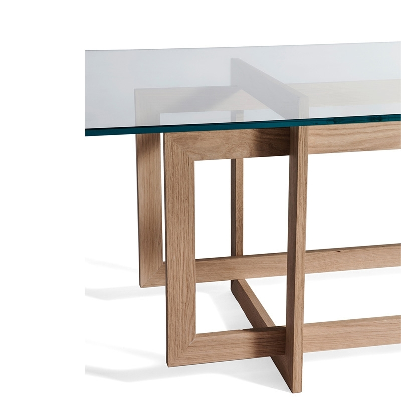 Most Current Modern Stylish Minimalist Dining Table Glass Dining Table Oak Wood Regarding Wood Glass Dining Tables (View 12 of 20)