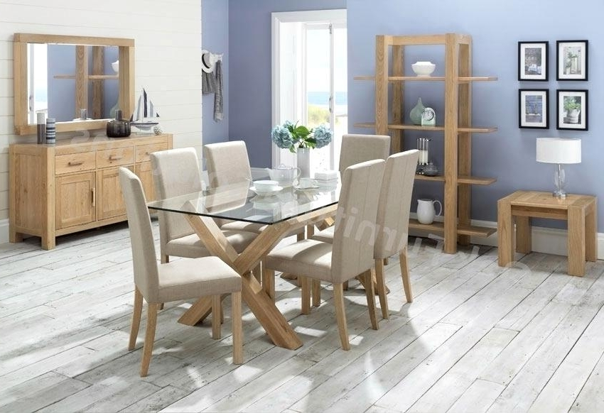 Most Current Oak And Glass Dining Tables Sets Intended For Incredible Oak Table Chairs Nite Glass Dining Room Furniture (View 8 of 20)