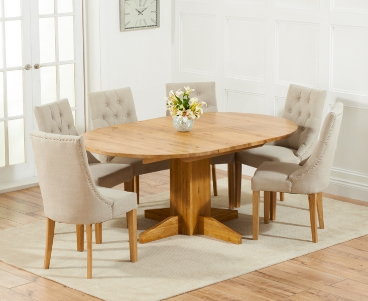 Most Current Oak Dining Tables And Fabric Chairs Throughout Dorchester 120cm Solid Oak Round Extending Dining Table With Pacific (View 8 of 20)