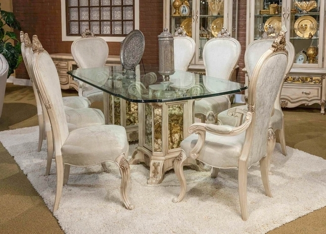 "Most Current Platine De Royal 5 Pc French Provincial 102"" Glass Top Dining Table Set Intended For Royal Dining Tables (View 17 of 20)"