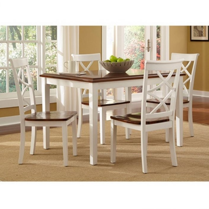 Most Current Powell 14D2041 Harrison Cherry And White 5 Piece Dining Set For Gavin 7 Piece Dining Sets With Clint Side Chairs (View 10 of 20)