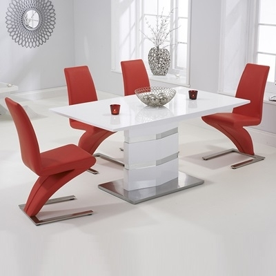 Most Current Red Gloss Dining Tables In Stenson High Gloss White Dining Table With 6 Harvey Red Chairs (View 6 of 20)