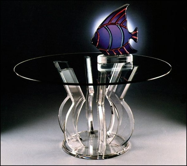 Most Current Round Acrylic Dining Tables Regarding Tables: A Round Acrylic Dining Table With An Interesting Base (View 8 of 20)