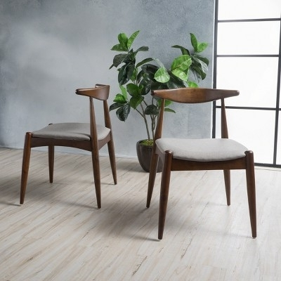Most Current Set Of 2 Francie Mid Century Dining Chairs Beige/walnut Brown Throughout Caira 9 Piece Extension Dining Sets With Diamond Back Chairs (View 6 of 20)