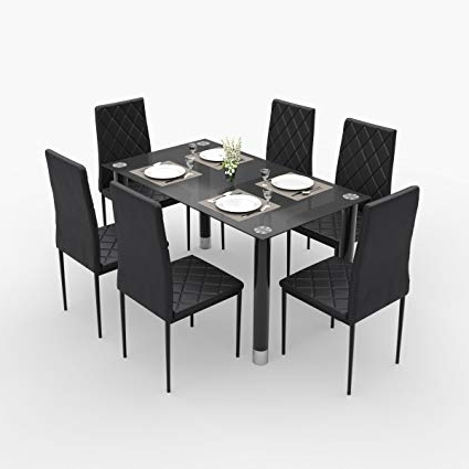 Most Current Six Seater Dining Tables In Forzza Aria Six Seater Dining Table Set (Black): Amazon (View 10 of 20)