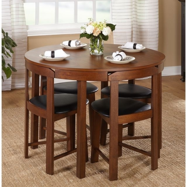 Most Current Small Dining Sets Regarding Small Dining Table Set Compact Round Wood 4 Chairs Kitchen Modern (View 8 of 20)