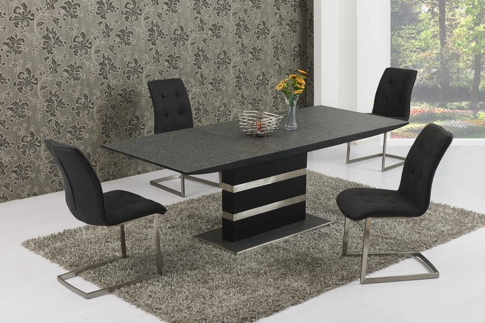 Most Current Small Extending Black Stone Effect Glass Dining Table & 6 Chairs Pertaining To Black Glass Extending Dining Tables 6 Chairs (View 15 of 20)