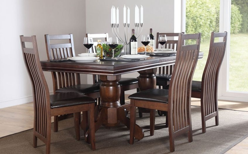 Most Current Solid Dark Wood Dining Tables Pertaining To Chatsworth Dark Wood Extending Dining Table (View 6 of 20)