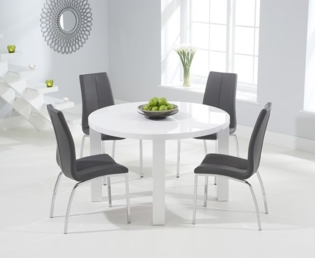 Most Current Somerset Painted Furniture Grey & Oak Extending Dining Table Set Throughout High Gloss White Dining Tables And Chairs (View 10 of 20)