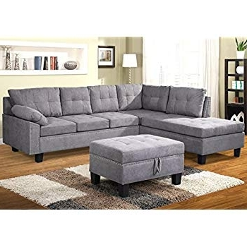 Most Current Taren Reversible Sofa/chaise Sleeper Sectionals With Storage Ottoman With Regard To Amazon: Bobkona Austin 3 Piece Reversible Sectional With Ottoman (View 8 of 15)
