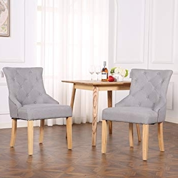 Most Current The Home Garden Store Set Of 2 Premium Linen Fabric Dining Chairs Throughout Fabric Dining Chairs (View 17 of 20)