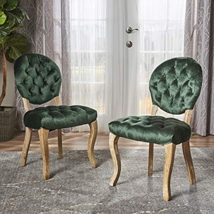 Most Current Velvet Dining Chairs Inside Amazon – Christopher Knight Home 302412 Xenia Tufted Emerald (View 2 of 20)