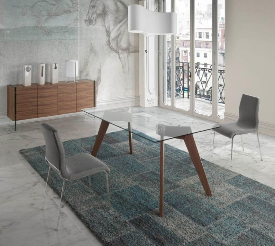 Most Current Vienna Dining Tables Within Modern Vienna Glass Top Dining Table, Walnut Legs/3 Sizes/rectangle (View 6 of 20)