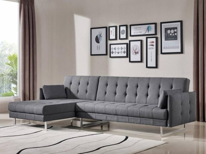 Most Current Vig Divani Casa Lennox Modern Grey Fabric Sectional Sofa Bed Regarding Norfolk Grey 3 Piece Sectionals With Raf Chaise (View 4 of 15)