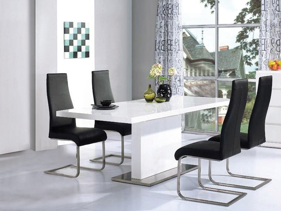 Most Current White Gloss Dining Tables 120Cm Intended For High Gloss White Dining Table With 4 Chairs Set – Homegenies (View 3 of 20)