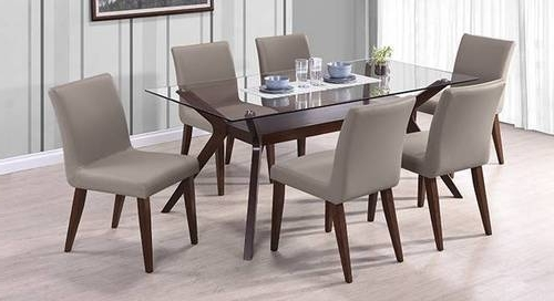 Most Popular 6 Seat Dining Table Sets For 6 Seater Dining Table With Glass Top, Glass Dining Room Table, Glass (View 14 of 20)