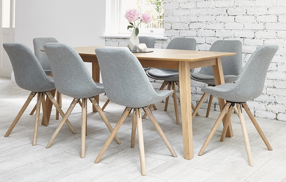 Most Popular 8 Seater Oak Dining Tables Throughout Grey 8 Seater Dining Set – Shell Chairs – Home Furniture – Out & Out (View 15 of 20)
