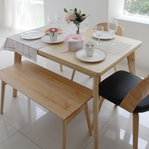 Most Popular Birch Dining Tables With Korean Pure Solid Wood Dining Table Turntable Japanese Style Dining (View 14 of 20)