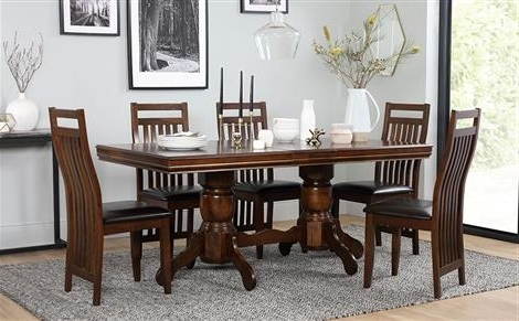 Most Popular Black Wood Dining Tables Sets Regarding Chatsworth Extending Dark Wood Dining Table And 6 Java Chairs Set (View 8 of 20)
