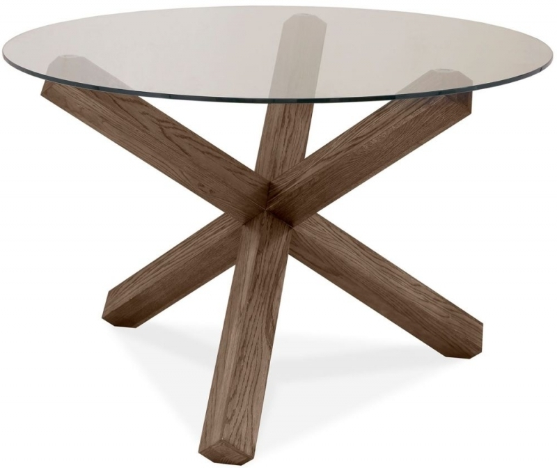 Most Popular Buy Bentley Designs Turin Dark Oak Round Glass Dining Table – 120Cm With Regard To Oak Glass Dining Tables (View 8 of 20)
