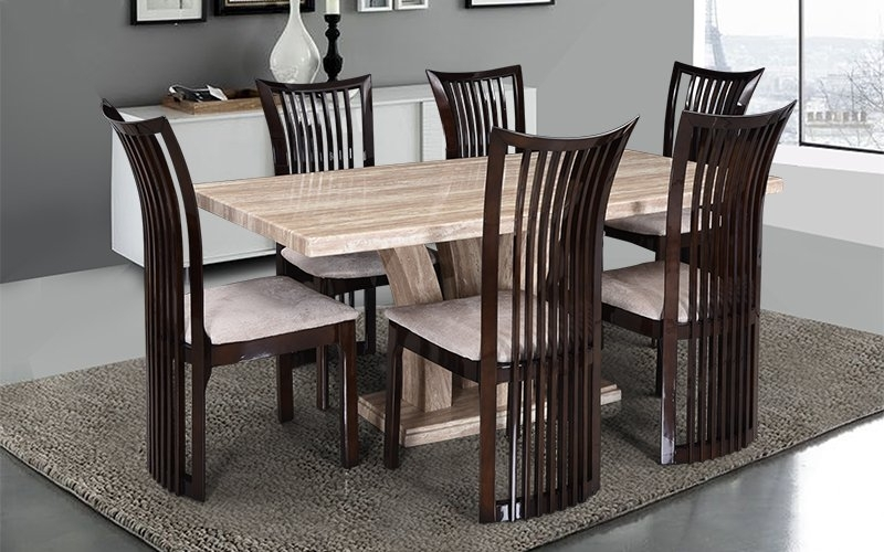Most Popular Buy Royaloak Elegant 6 Seater Oak Wood Dining Set With Italian Inside Oak 6 Seater Dining Tables (View 9 of 20)