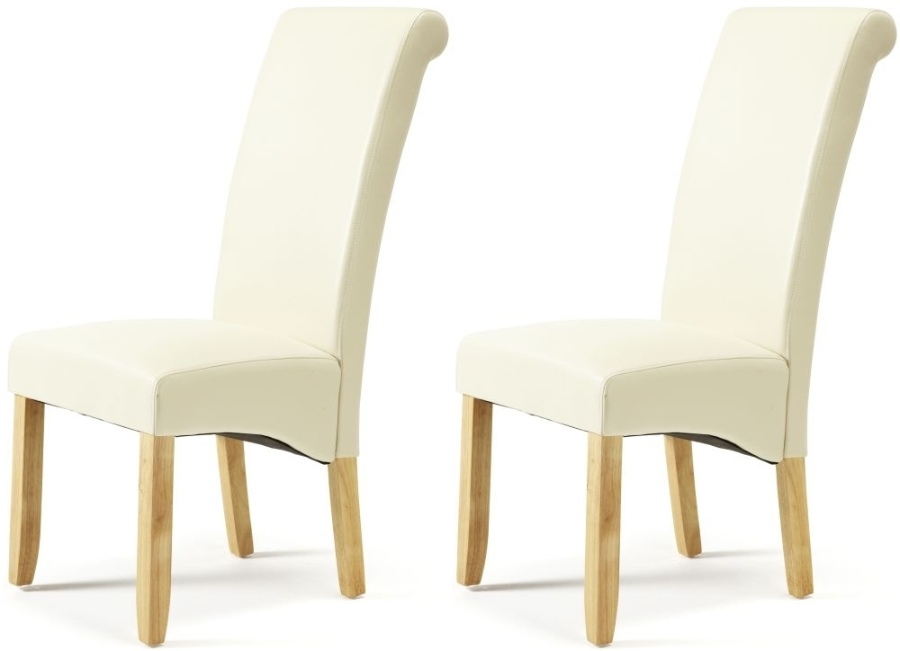Most Popular Buy Serene Kingston Cream Faux Leather Dining Chair With Oak Legs Pertaining To Oak Leather Dining Chairs (View 11 of 20)