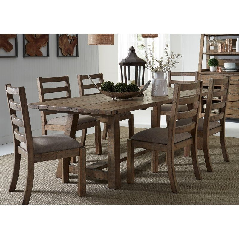 Most Popular Candice Ii 7 Piece Extension Rectangular Dining Sets With Slat Back Side Chairs Inside Liberty Furniture Prescott Valley 7 Piece Trestle Dining Table Set (View 12 of 20)