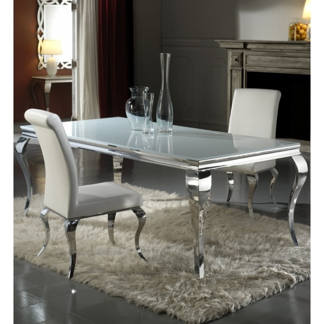 Most Popular Chrome Dining Tables With Louis 160Cm White And Chrome Dining Table Only (View 12 of 20)