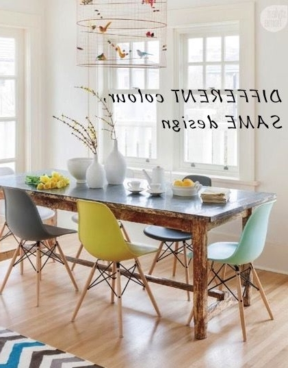 Most Popular Colourful Dining Tables And Chairs Inside Modern Different Colour Dining Room Chairs How To Mix Interior (View 12 of 20)