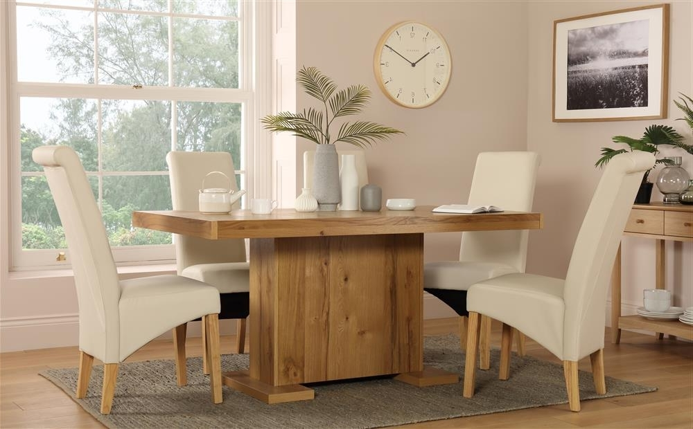 Most Popular Cream And Oak Dining Tables Throughout Chilton 160Cm Oak Dining Table With 6 Richmond Cream Chairs Only (View 13 of 20)