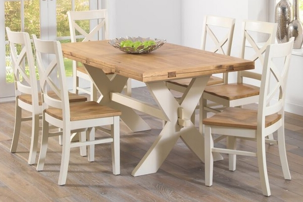 Most Popular Cream And Wood Dining Tables For Mark Harris Avignon 165Cm Oak & Cream All Sides Extending Dining (View 8 of 20)