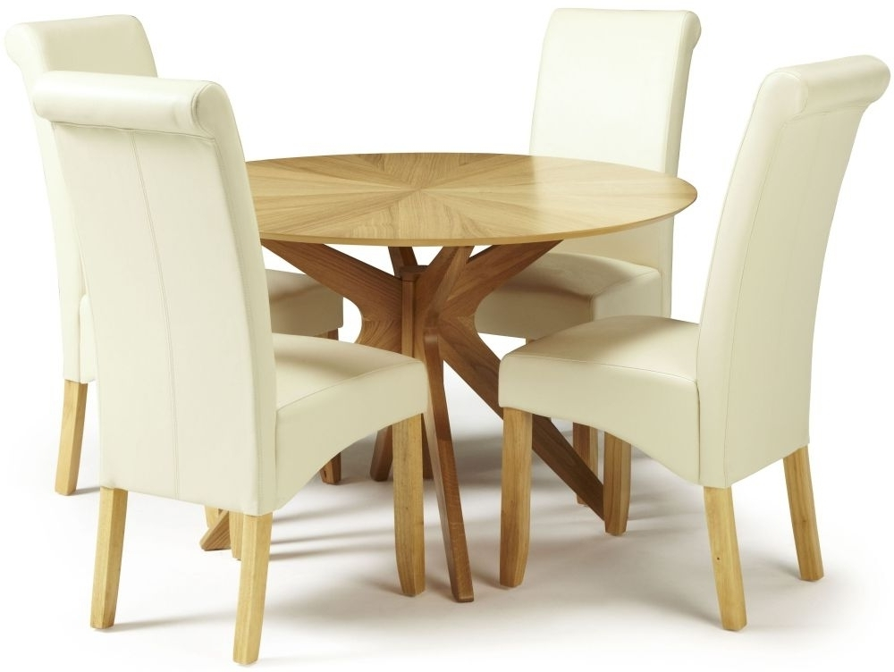 Most Popular Cream Faux Leather Dining Chairs For Douglas Oak Round Dining Set With 4 Kingston Cream Faux Leather (View 10 of 20)